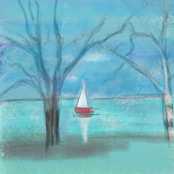 Painting: Lake with Boat and Trees