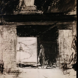 Charcoal Drawing: Stupa Archway
