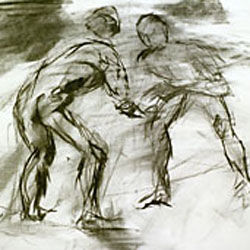 Drawing: Wrestlers